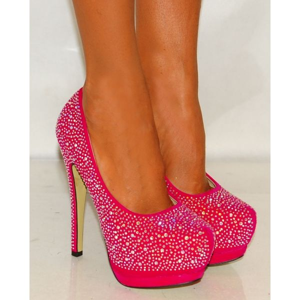 pink high heels | ... Swarovski Crystal Rhinestones Fuchsia Pink High Heels Court Shoes