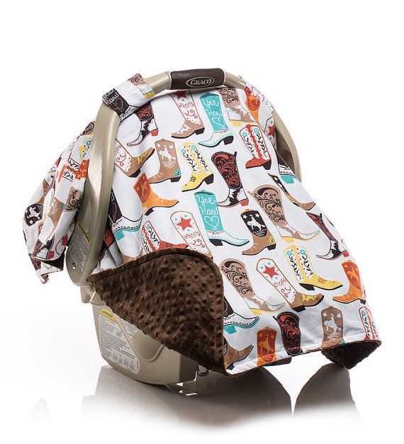 Boys Western Cowboy Boot Carseat Canopy with Designer Cotton and Cuddle Dimple Minky on Underside by Elonka Nichole Designs $45.00 www.elonkanichole.com