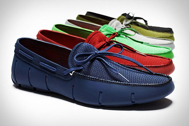 Swims Loafer ($TBA) An ingenious WATERPROOF shoe, made from rubber that allows good grip, and forms gills around the shoe base to let water out and air in.  EVA footbed for comfort and color matching laces to finish off the effect.