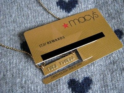 cut your name off an old credit card for a cute necklace or other id
