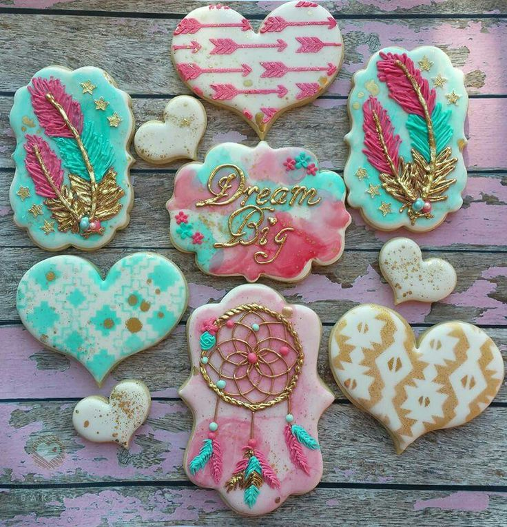 Christine Hays:  Dream big!  Cookies for Icing Smiles for a woman who has beat cancer!  Stunning set!  Dream catcher.  Feathers.  Arrows.  Hearts.  Watercolors.  Native American patterns.