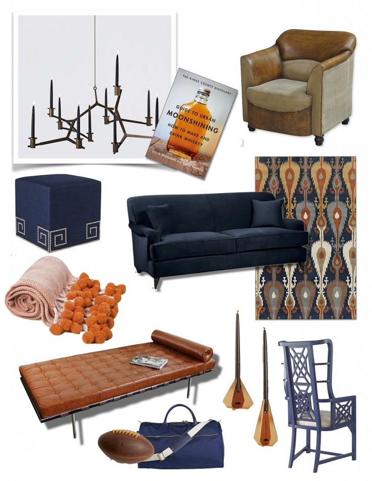 English Countryside Living Room Interior Design Inspiration Board Blue Brown Orange