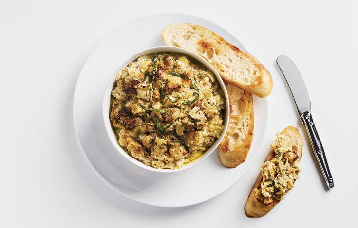 Warm Artichoke-Olive Dip - Bon Appétit. Nice change from regular old ...