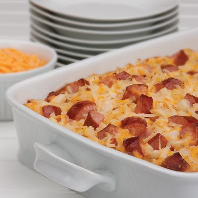 Cheesy Potatoes with Smoked Sausage. Really delicious. I feigned healthy-nes by using turkey smoked sausage and subbed greek yogurt for the sour cream, because I didn't have any on hand. Will make again.