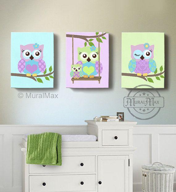 Verde y púrpura buho vivero chica sala Decor arte de por MuralMAX