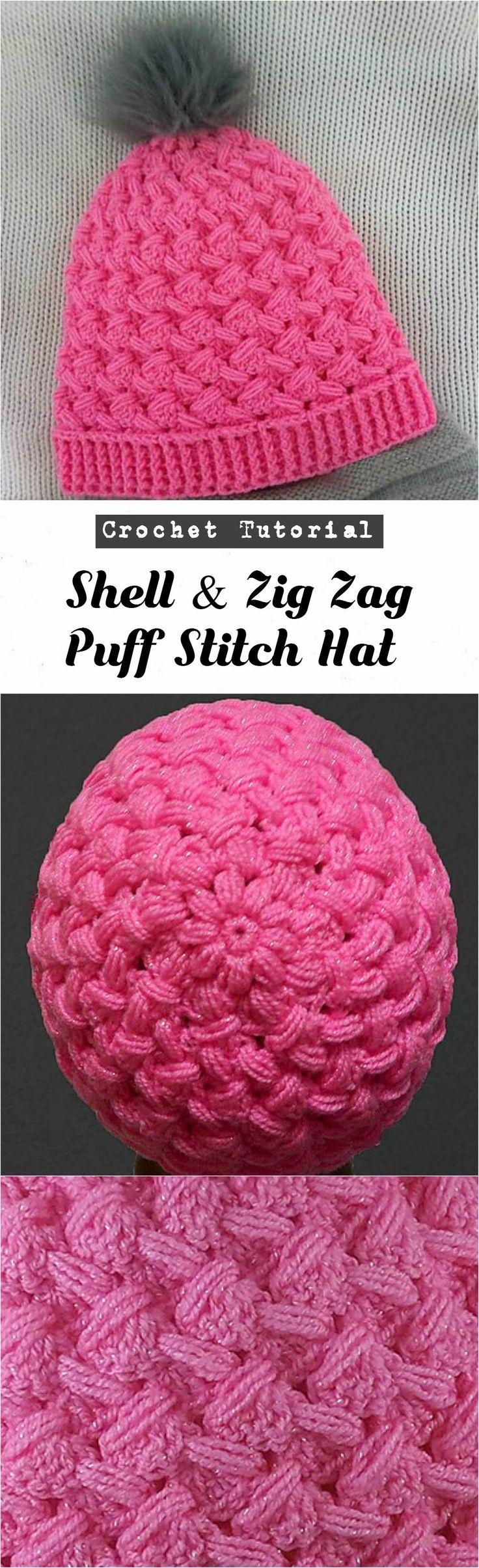 Crochet Shell & Zig Zag Puff Stitch Hat