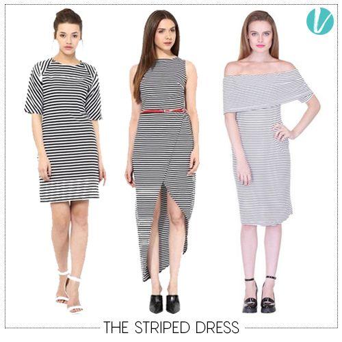 The Striped Dress is definitely here to stay. Shop these Dresses by Product Code: (Left - 160421, Centre - 160504, Right - 137224).  #stripeddress #dress #trendalert #trending #blackandwhite #premium #vilara
