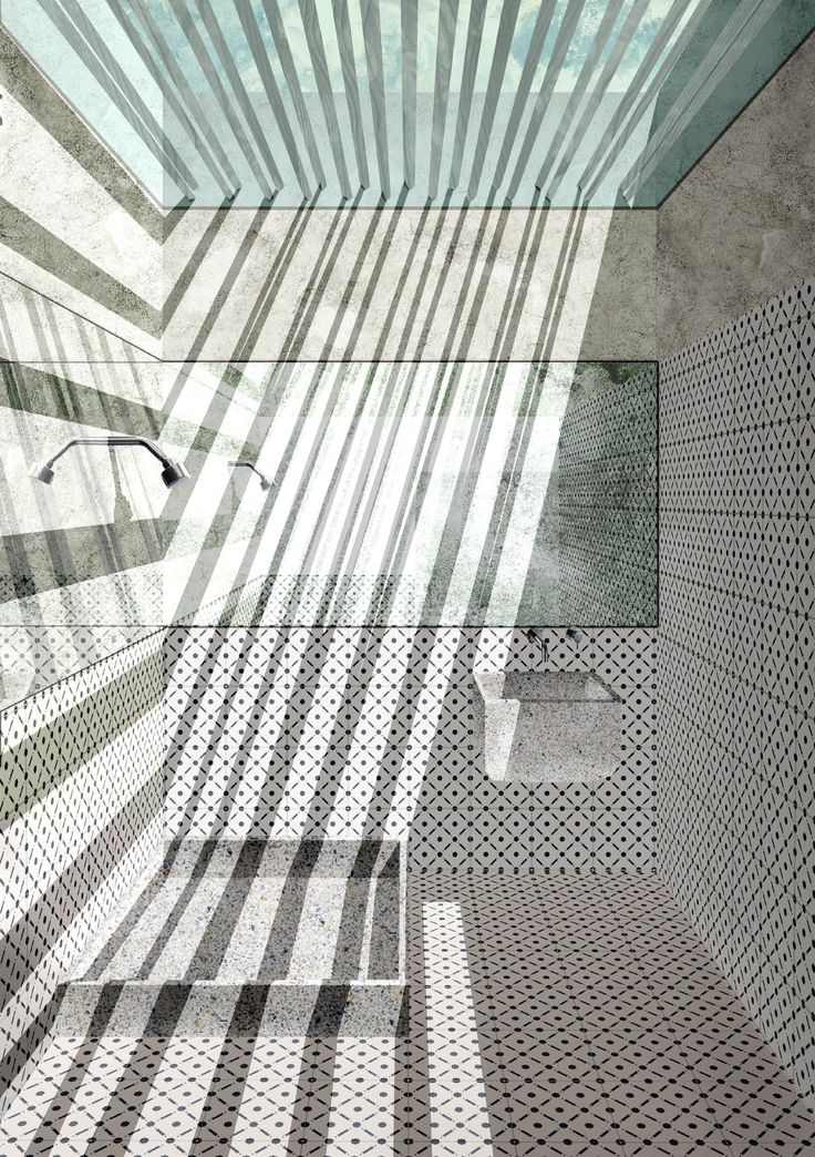 Bathroom. Lighthouse sea hotel. Siracusa. Young architects competition entry.