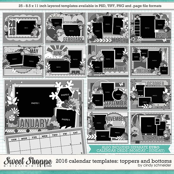 Cindy's Layered Templates - 2016 Calendar: Toppers and Bottoms
