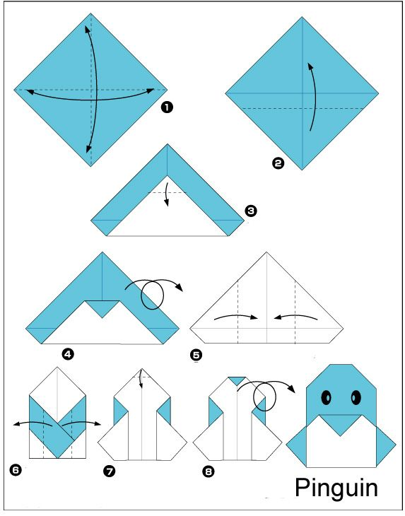origami-pinguin vouwen