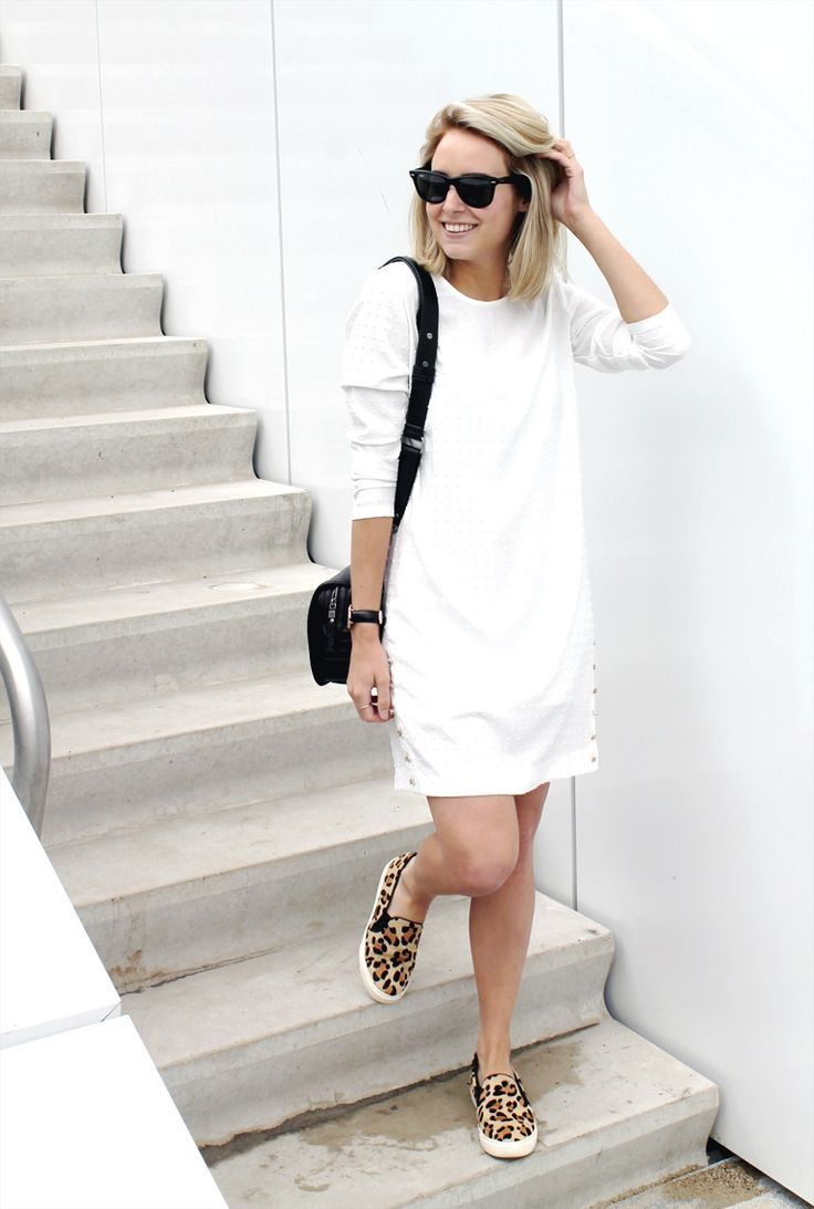 5 Tips For Wearing Sneakers with Jeans at www.StyleBlueprint.com Leopard slip on sneakers with white dress