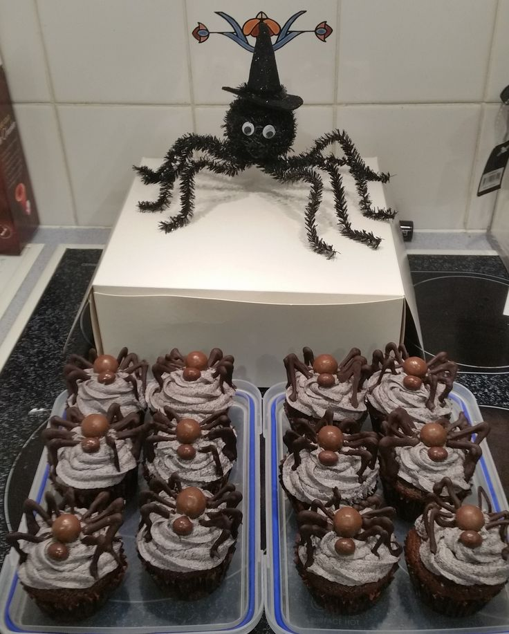 Spider cupcakes with purple buttercream frosting, malteaser body, choc peanut head and piped chocolate legs.