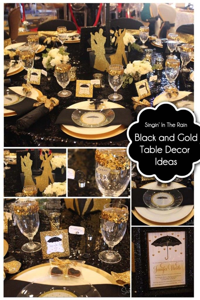 Bash Conference – Table Design Competition - Black and Gold Table Decor for Weddings, Receptions, Bridal Showers, Retirement Party, Graduation Party, and more #bashconf15 @bashconf