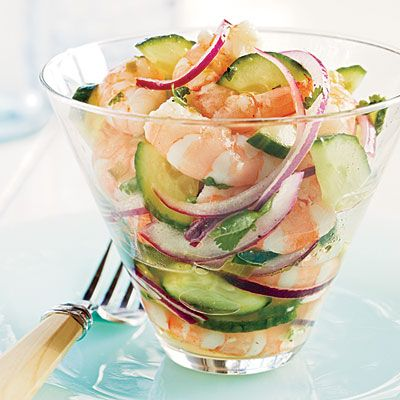 Shrimp Ceviche...olive oil, cucumbers, pickled jalapeño chiles, onion, fresh lime juice, and cilantro make me want to dig into this asap. Come on summertime!