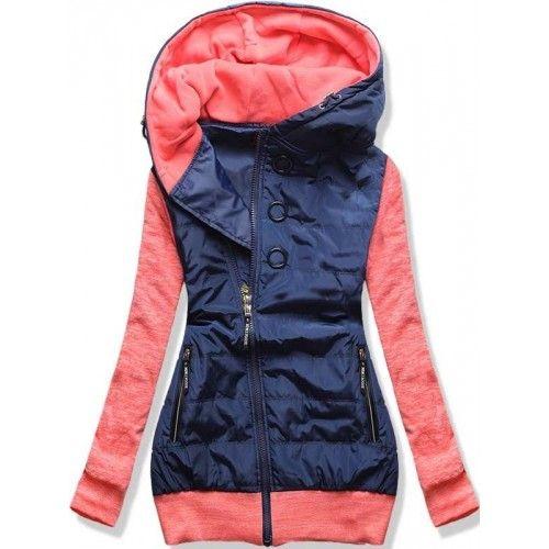 Dámská jarní/podzimní bunda Donie růžová – růžová – originální kombinace bundy a mikiny – asymetrický zip – tři ozdobné kolečka – dvě přední kapsy na zip – lemy ve spodní části i na rukávech Střih: …