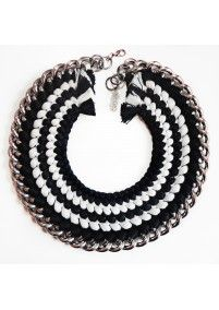 FIRE DE MURG SILVER NECKLACE WITH FIVE BRAIDS BLACK-WHITE http://bit.ly/1pn6sui wearitwithlove.com | Contemporary Fashion. Young Designers