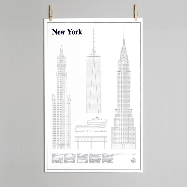 New York Architectural print by Swedish designers & architects Studio Esinam.  -Limited edition print -Elevation drawings of 5 New York… #TrouvaHandpinnedHomewares