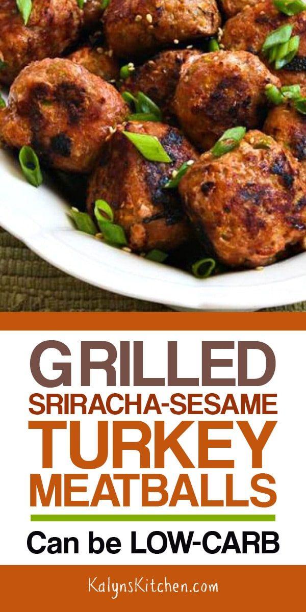 Grilled Sriracha-Sesame Turkey Meatballs