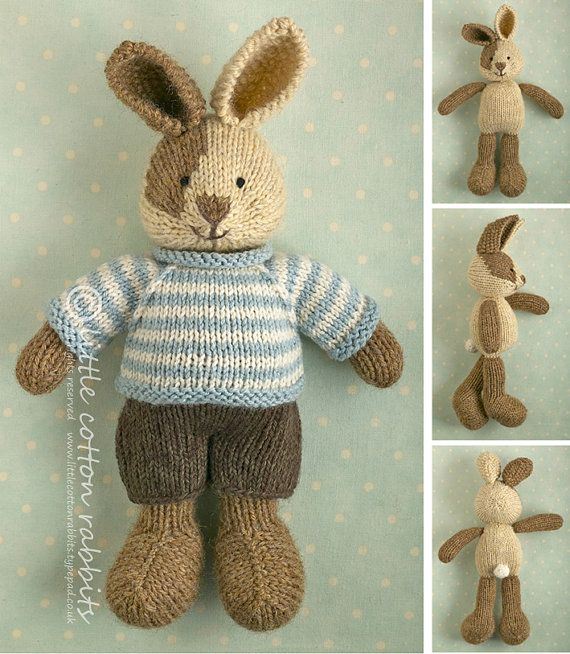 Knitting pattern for a bunny boy with a piebald patch, shorts and a stripy sweater