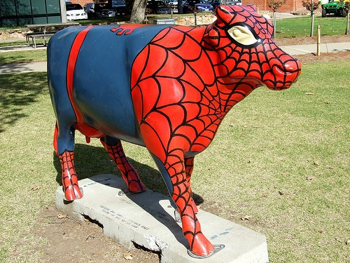 """""""Spider Cow"""" - another of the arty cows around Shepparton. Quirky !"""
