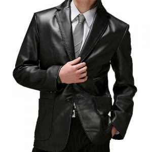 Two Buttons Leather Blazer Jacket
