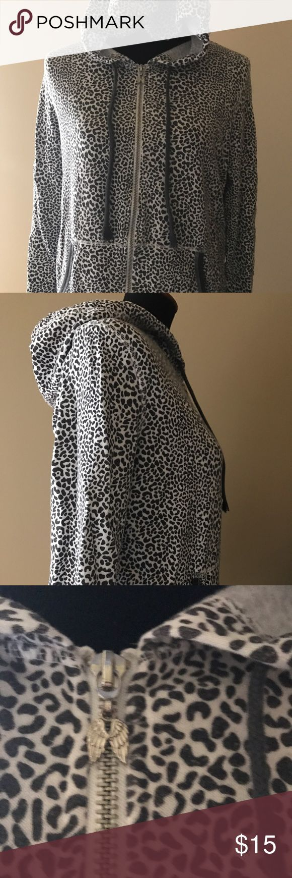 Victoria's Secret zip-up hoodie Cute! Gently used. Fun animal print pattern. Victoria's Secret Jackets & Coats