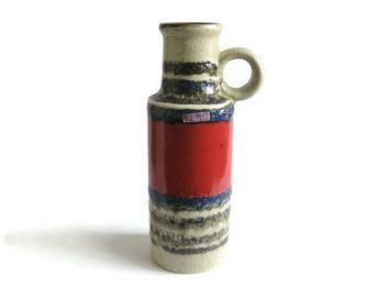 Modernist West German Pottery Vase Scheurich 401-28 Red Blue Brown Rims