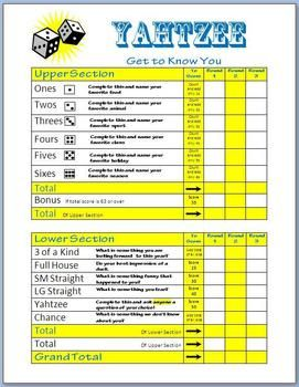 Yahtzee Get To Know You Game Board