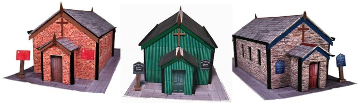 New Releases. OO Gauge Corrugated Iron, Brick and Stone Churches  £4.17 = C$6.99  Simple and quick to assemble, just like the real thing!