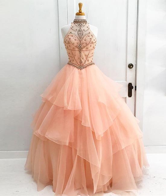 Charming Prom Dress, Elegant Prom Dress, Tulle Evening