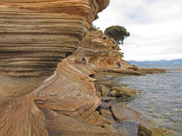 The magnificent Painted Cliffs on Maria Island off the east coast of Tasmania. Catch a ferry at Triabunna.