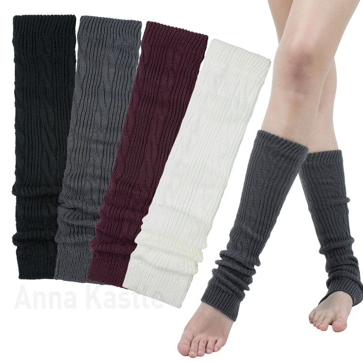 AnnaKastle Womens Girls Cable Knit Leg Warmers Black DarkGray Cream Burgundy | eBay
