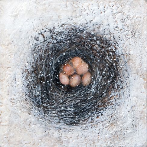 "Susan Wallis | Winter's Clutch | encaustic on panel, 16""x16"" sm"