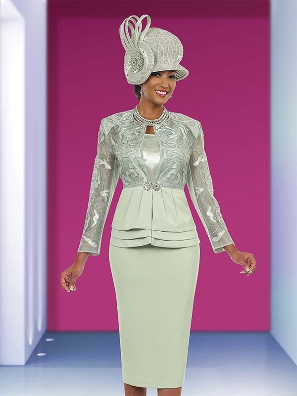 Ben Marc 48024 Ladies Church Suit With Layered Flounce Jacket