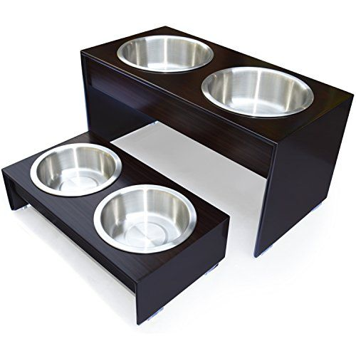 "PetFusion Elevated Pet Feeder in Premium Grade A New Zealand Pine.  (i) Water Resistant.  (ii) Tall 10"" height.  (iii) 2 brushed stainless steel large bowls included"