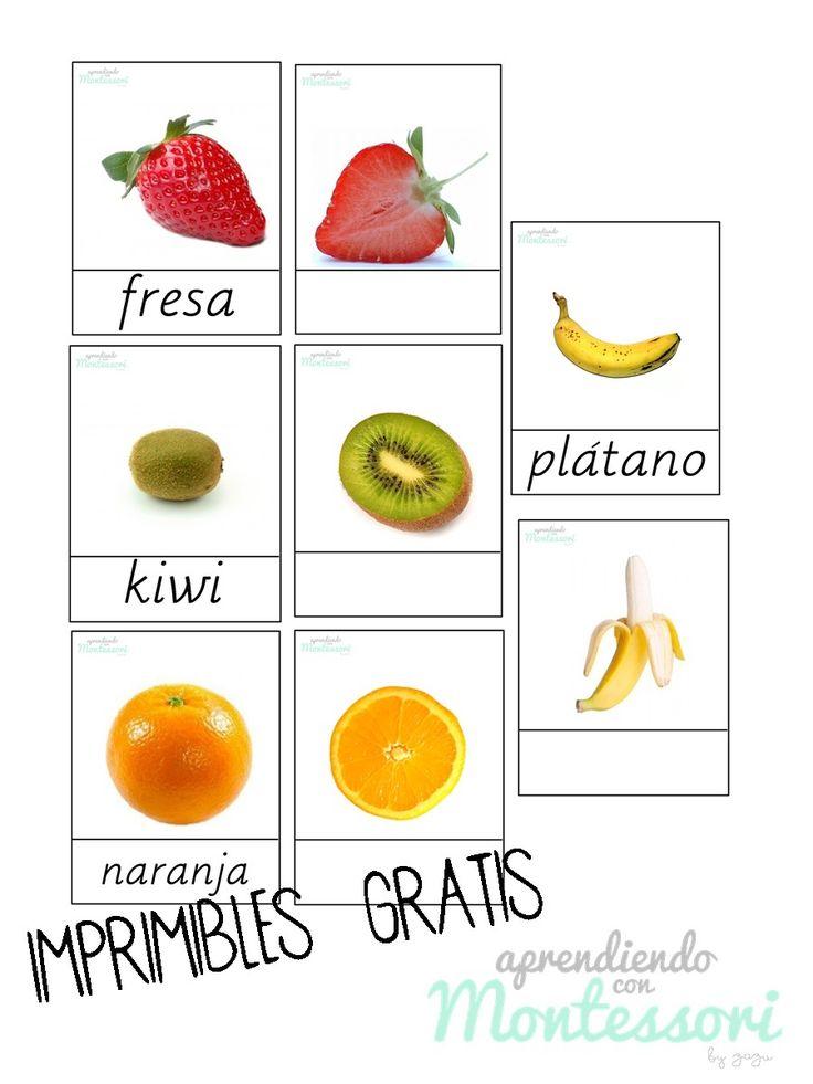 frutas imprimibles, montessori imprimibles https://www.facebook.com/AprendiendoconMontessori