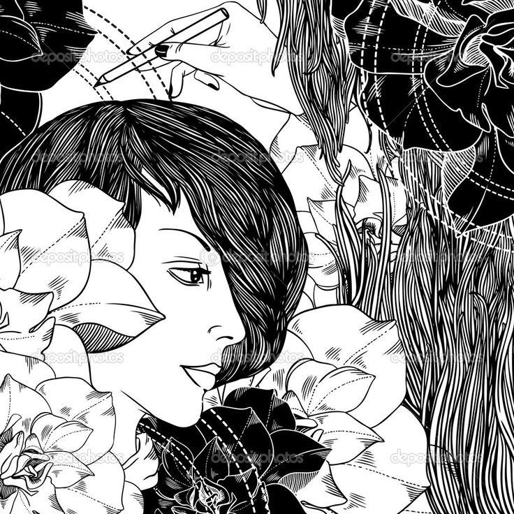 Скачать - Девушка, цветы, волны и рука с карандашом — стоковая иллюстрация #31332123