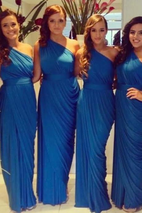 F25 Royal Blue Long Bridesmaid Dresses, One Shoulder Bridesmaid Dresses, Pleat Simple Long Bridesmaid Dress