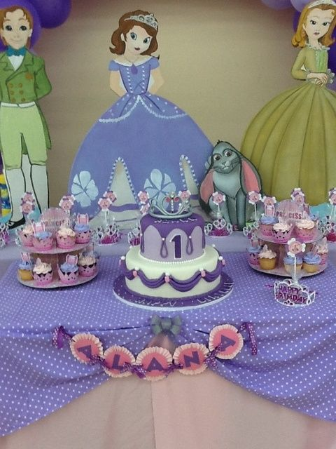 Sofia the First Birthday Party Ideas... Really like the cake in the center of table!