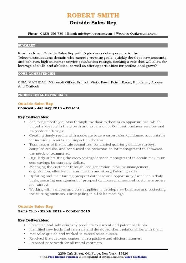 Awesome Outside Sales Rep Resume Samples Sales Resume Examples Sales Resume Marketing Resume