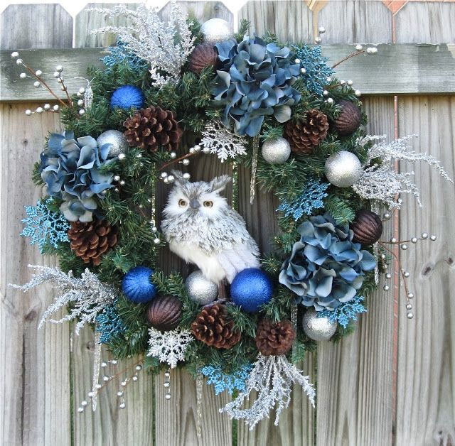 Irish Girl's Wreaths 2013 Blue and Silver Winter Woodland Owl Wreath , Rustic, Cabin-SOLD OUT