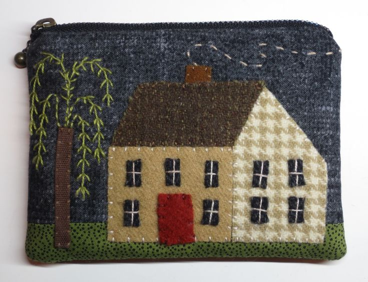 Saltbox houses and weeping willows are common images found in Early American art.  This design combines a saltbox, willow tree, and a sunflower (pouch back). This is a variation of the flower pouch that I posted earlier.