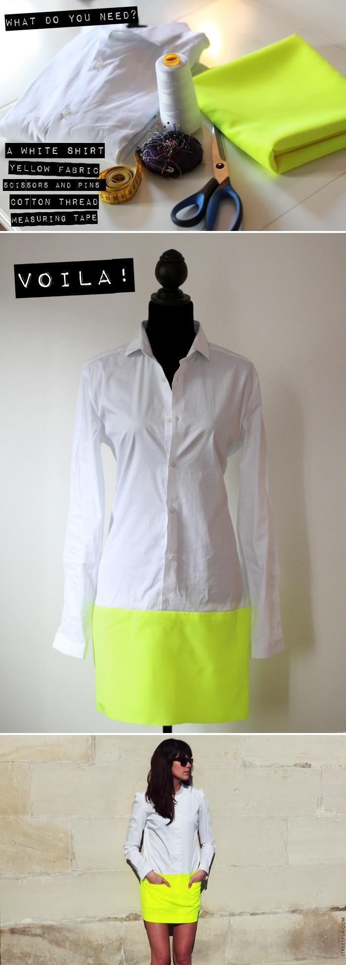 une chemise blanche, un tissu jaune fluo pour faire la jupe et voilà une jolie robe !