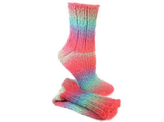 Knitted Socks, Hand Knit Socks, Striped Adult Socks, Super Soft Acrylic, Handknit Handmade in Canada, Size Medium Seamless Socks #249 PARROT