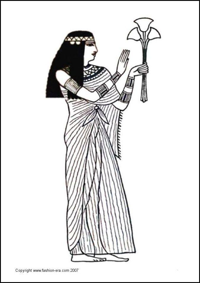 Imagen que nos recrea un vestido utilizados en los tiempos de la antiguedad egipcia  y nos muestra es estilo en la vestimenta de las reinas de el antiguo Egipto.  En la ilustración se aprecia una reina de Egipto con accesorios en los brazos y cabeza distintivos de aquella civilización.