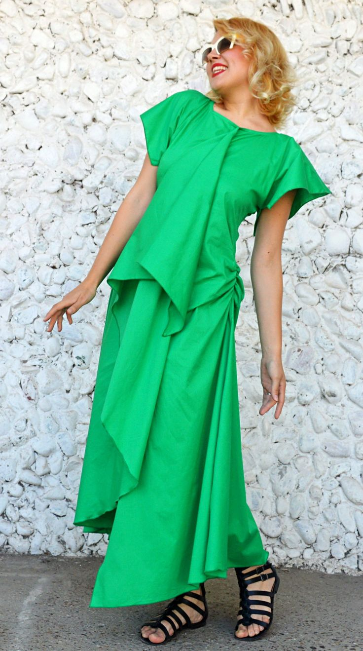 Just in: Extravagant Green Cotton Dress, Asymmetrical Cotton Dress, Green Summer Dress, Funky Green Dress TDK257, Carousel Collection https://www.etsy.com/listing/527711195/extravagant-green-cotton-dress?utm_campaign=crowdfire&utm_content=crowdfire&utm_medium=social&utm_source=pinterest