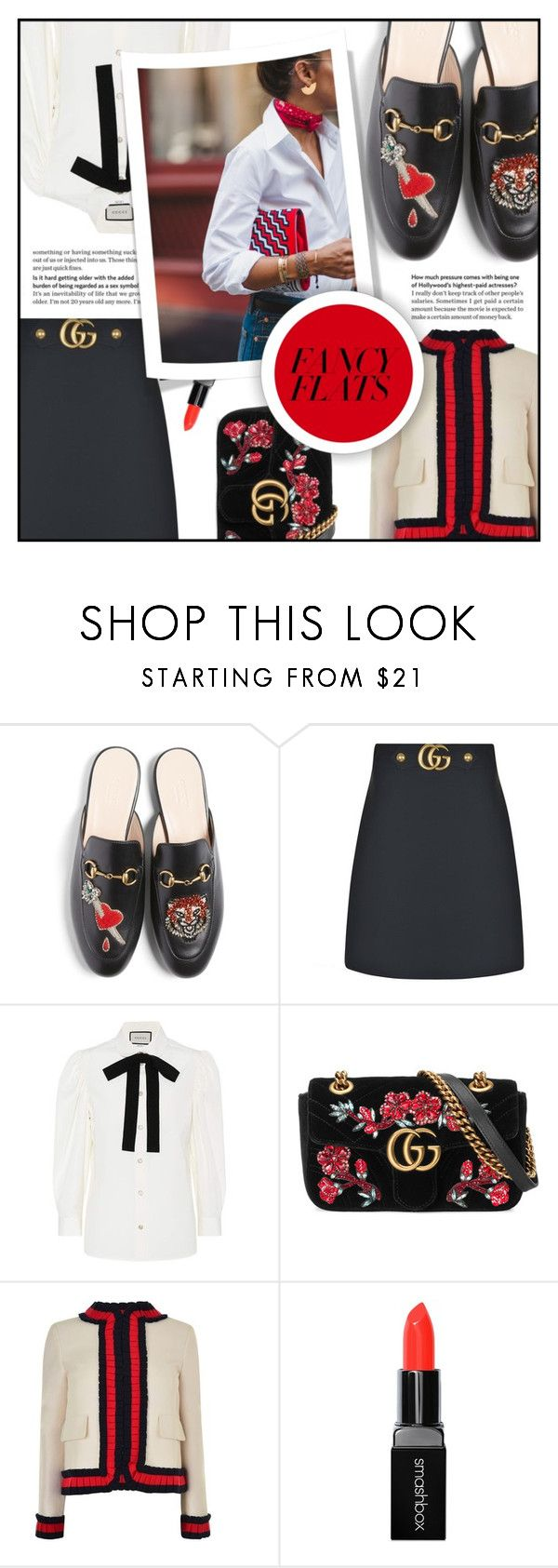 """""""Classic Gucci Flats"""" by elisapar ❤ liked on Polyvore featuring Gucci, Smashbox and chicflats"""