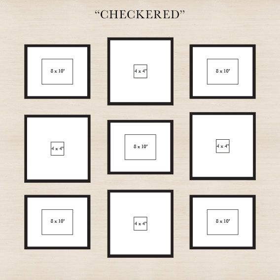 To create the grid, start by placing the center frame, then place the four larger frames, followed by the rest.