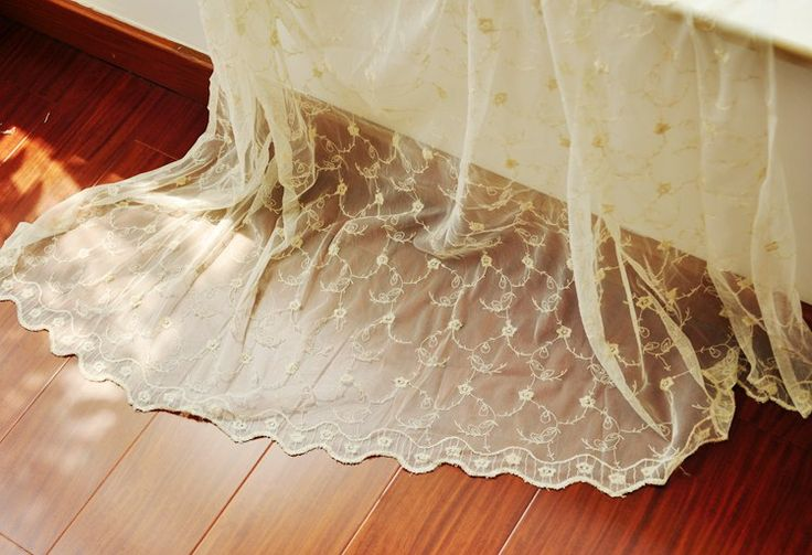Light yellow mesh embroidery lace yarn tulle French window curtain for living…