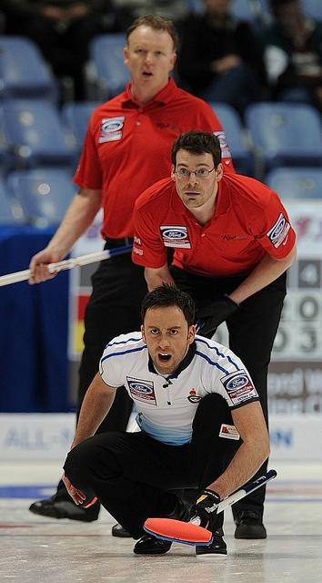 Victoria B.C.April 2,2013.Ford Men's World Curling Championship.Scotland skip David Murdoch,U.S.A. lead Phillip Tilker,second Darren Lehto.